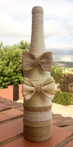 Botella decorada con lazos, diy, manualidades, handmade