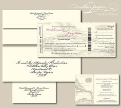 Vintage Map Boarding Pass Wedding Invitation with by EllasPaper, $4.95