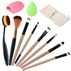 KaptronTM Makeup Brush Set Oval Brush Toothbrush Curve ContouringBlending Blush Concealer and Eyeshadow Brush 8 Brushes  Makeup Cleaner  Makeup Sponge  Blender included in the Bag * You can find more details by visiting the image link.