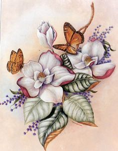 Magnolia and Butterfly ~ Kay Lamb Shannon - Today Pin