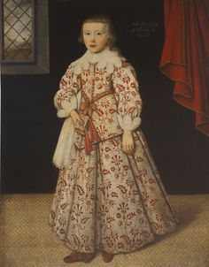 Gilbert Jackson PORTRAIT OF BENNET SHERARD, 2ND BARON SHERARD OF LEITRIM (1621 - 1700), AGED 8, STANDING FULL-LENGTH, WEARING EMBROIDERED COSTUME AND HOLDING A BOOK