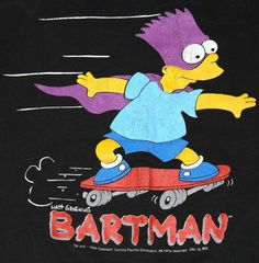 Vintage 1990 The Bartman Bart Simpson Skateboard Sweatshirt Simpson Wave, Bart Simpson, Vintage Tv, The Simpsons, Spring Time, Skateboard, Disney Characters, Fictional Characters, Graphic Tees