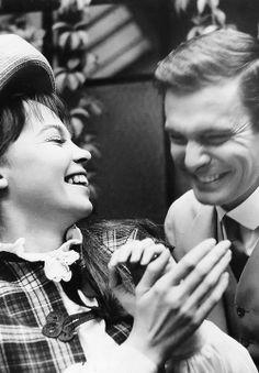 Leslie Caron and Louis Jourdan fool around on the set of Gigi (1958)