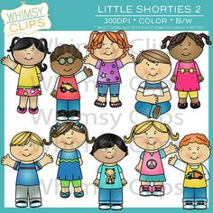 This super cute Little Shorties clip art pack contains 10 different kids in various outfits and poses. There are a total of 20 image files, which includes 10 color images and 10 black and white images in both png and jpg formats. All images are 300dpi for better scaling and printing.