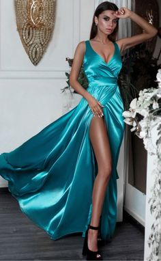 e1abdb4287f Sexy Split Long Prom Dresses Turquoise V-Neck Formal Evening Dress With Slit