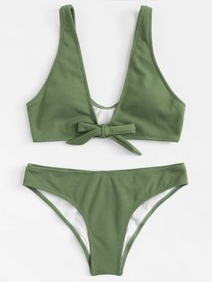 Knot Front Ribbed Bikini Set