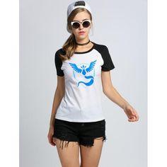 Women Ladies O-Neck Raglan Short Sleeve Hot Game Print Slim T-Shirt Tops