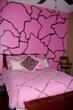 Girls Bedroom Idea. Pink Giraffe Print Giraffe Bedroom, Girls Bedroom, Bedroom Ideas, Pink Giraffe, Giraffe Print, To My Daughter, Kids Room, Decorating Ideas, House Design