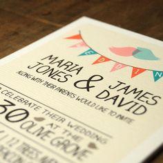 whimsical Lovebirds Wedding Invitation - Feel Good Wedding Invitations