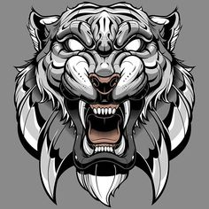 Find Illustration Tiger Cool Logo stock images in HD and millions of other royalty-free stock photos, illustrations and vectors in the Shutterstock collection. Tiger Illustration, Tattoo Sketches, Tattoo Drawings, Art Tattoos, Skull Drawings, Tattoo Avant Bras, Tattoo L, Yakuza Tattoo, Tiger Drawing