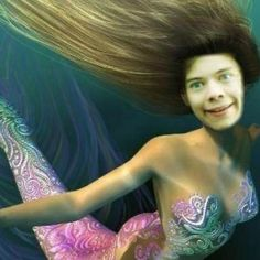 Yet another reason why we shouldn't be allowed to use photoshop...<<<<<<<<Her name is Harelda Style. Harry's twin that was cursed by The Wanted to turn into a mermaid for the next 50 years.