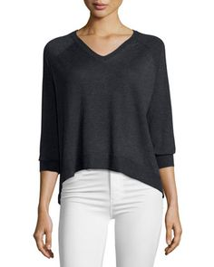 Split-Back+V-Neck+Sweater,+Charcoal+Gray+Heather+by+Design+History+at+Neiman+Marcus+Last+Call.