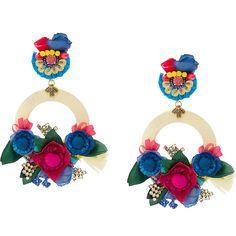 Ranjana Khan floral appliqués hoop drop earrings featuring polyvore, women's fashion, jewelry, earrings, multicolour, multi color earrings, ranjana khan earrings, floral drop earrings, drop hoop earrings and tri color hoop earrings