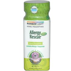 Rainbow Light Allergy Rescue Description: Formerly Allerstan Now Coated! Herbal Prescriptives Eases Discomfort Inhibits Allergic Response Eyebright and Xanthium Sinus Allergies, Allergy Symptoms, Natural Allergy Relief, Rainbow Light, Itchy Eyes, Runny Nose, Total Body, Herbalism