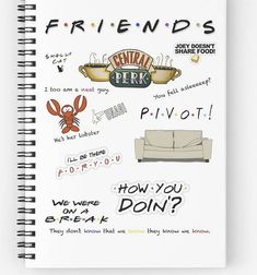 Friends tv show- Friends Note Book- quotes- custom notebook- Friends Quotes Bullet Journal Art, Bullet Journal Inspiration, Bullet Journals, Journal Ideas, Friends Moments, Friends Tv Show, Tv Show Quotes, Book Quotes, Day Planner Template
