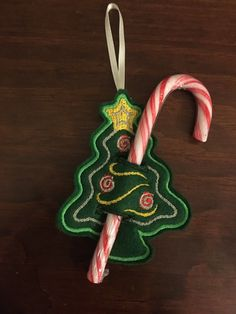 Handmade Felt Embroidered Christmas Tree Candy Cane Holder Xmas Tree Decoration. | eBay