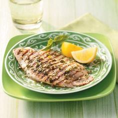 Grilled Tilapia with Lemon Basil Vinaigrette. Scott made this for dinner tonight. It was excellent!