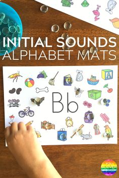 Initial Sounds Alphabet Mats - fun hands-on way to help children practice finding beginning letter sounds in words. Ready to print for literacy centers or Daily 5 Word Work at school | you clever monkey