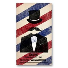 #Barbershop #Business Card design. Card has a gentleman with moustache and top hat. A unique and fun barbershop business card design.