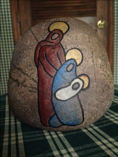 nativity painted rock christmas painted stone about 45x4 simple line drawing