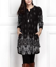 Another great find on #zulily! Black Medallion Button-Front Split Hem Tunic - Plus Too #zulilyfinds
