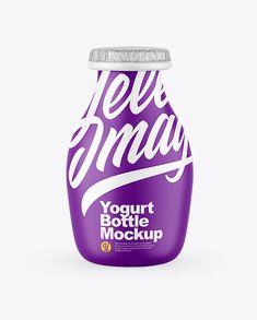 Matte Plastic Yogurt Mockup Food Decoration, Bottle Mockup, Creative Words, Milkshake, Yogurt, Your Design, Bottles, Protein, Household