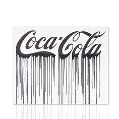 Quadro Coca Cola sfondo bianco scritta nera. Acrilico su tela Telaio in legno Shop online Declea.com