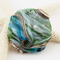 Handmade Lampwork Bead Glass Etched by StoneDesignsbySheila