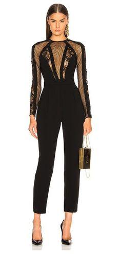 052960334285 Mesh  amp  lace paneled jumpsuit by Zuhair Murad  zuhairmurad Long Sleeve  Mini Dress