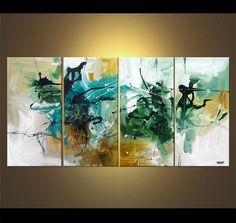 Modern Abstract Painting 60 x 30 Acrylic Abstract by OsnatFineArt