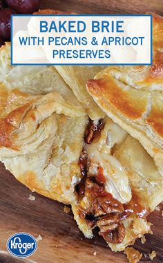 Ooey gooey cheese meets sweet dessert flavors in this Baked Brie with Pecans and. - Ooey gooey cheese meets sweet dessert flavors in this Baked Brie with Pecans and Apricot Preserves - Brie Puff Pastry, Puff Pastry Appetizers, Brie Appetizer, Flaky Pastry, Puff Pastry Recipes, Holiday Appetizers, Appetizer Recipes, Apricot Preserves Recipe, Baked Brie Recipes