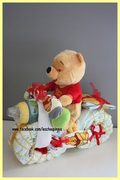 Moto gâteau de couches Winnie cadeau naissance baptême garçon : Chambre d'enfant, de bébé par les-choupinous