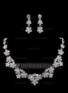 Elegant Legering med Rhinestone Kvinner Smykker Sett (011017879)