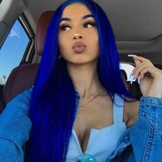 Preferred Human Blue Hair Wig Hair Straight Hair Wig Lace Front Wigs for women Hair Dye Colors, Hair Color Blue, Cool Hair Color, Blue Hair Black Girl, Blue Haired Girl, Baby Blue Hair, Bright Blue Hair, Creative Hair Color, Blue Wig