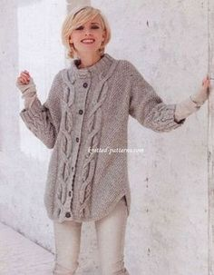 Craft Passions: Cable pattern cardigan# Free # knitting link here Knitting Patterns Free, Knit Patterns, Hand Knitting, Free Pattern, Cardigan Pattern, Knit Cardigan, Knit Sweaters, Vintage Knitting, Pulls