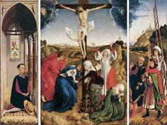 """Donor (w/ A+ hat & bi-colored hose) watching crucifixion from his nice little side chapel. Altar, Robert Campin, Renaissance, Art Quiz, Hayward Gallery, Contemporary African Art, Romantic Period, Cleveland Museum Of Art, Peter Paul Rubens"