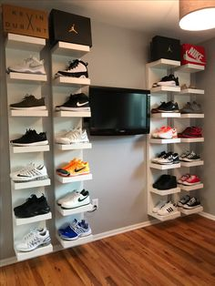 DIY shoe display using IKEA lack shelves
