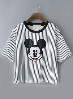 Vertical Striped Mickey Pattern Pale Grey T-shirt