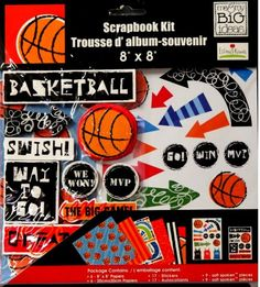 Me & My Big Ideas Ellen Sports Assortment Basketball 8 x 8  Scrapbook Page Kit is available at Scrapbookfare.