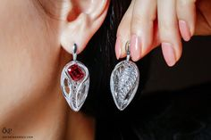 FORMS jewellery earrings with sapphire, ruby and marquise cut diamonds Jewellery Earrings, Ruby Jewelry, Ruby Earrings, Simple Earrings, Diamond Jewelry, Jewelery, Marquise Cut Diamond, Diamond Cuts, Ruby Stone Price