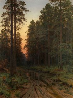 """laclefdescoeurs: """"Twilight, Ivan Shishkin """" (Note: Shishkin, was one of the most popular Russian landscape painters. He was called """"the tsar of the woods."""" This painting was among a lot of Russian works sold at an auction arranged in Russian Landscape, Landscape Art, Landscape Paintings, Landscapes, Landscape Prints, Russian Painting, Russian Art, Russian Culture, Paintings I Love"""