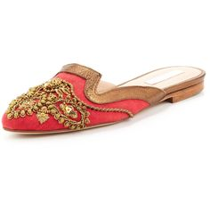 Women's Spanish Sequin-Embellished Mule, Red/Gold - Oscar de la Renta