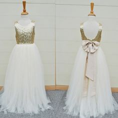 Gold Sequin Top White Tulle Cute Flower Girl Dresses For Wedding Party, FG002 The dresses are fully lined, 4 bones in the bodice, chest pad in the bust, lace up back or zipper back are all available,