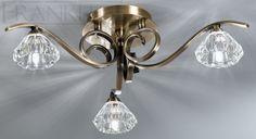 Plafonnier Twista 5 éclairages bronze abat jour cristal intérieur