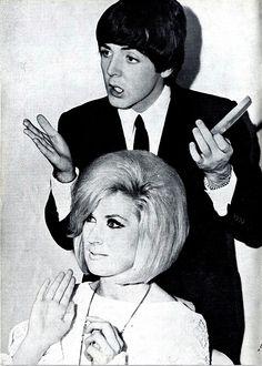 Paul McCartney doing Dusty Springfield's hair