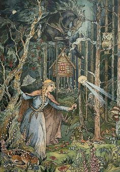 Thank you for the feature ❤ Baba Yaga is a crone and the elder in Slavic folklore who appears as a Inspiration Art, Art Inspo, Art And Illustration, Botanical Illustration, Ivan Bilibin, Fairytale Art, Fairytale Drawings, Witch Art, Wow Art