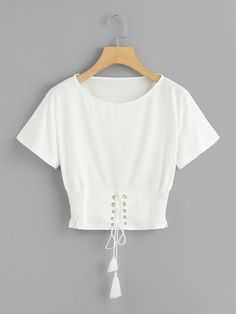 white croptop Corset Lace Up Detail T-shirt -SheIn - croptop Crop Top Outfits, Cute Casual Outfits, Stylish Outfits, Indian Fashion Dresses, Girls Fashion Clothes, Fashion Outfits, Stylish Dress Designs, Stylish Dresses, Cute White Shirts