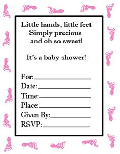 Free Baby Shower Invitations, Baby Shower Games, Baby Shower Favors, White  Baby Showers, Baby Footprints, Baby Shower, Free Printable, Shower Ideas,  ...