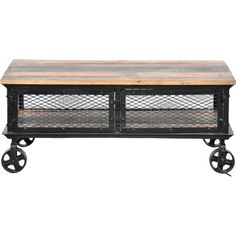 Crafted of reclaimed pine wood and iron, this chic coffee table brings an industrial-inspired touch to your living room or library.