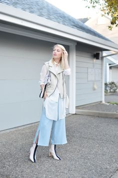 white layers outfit and striped boots, light blue culottes,